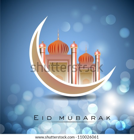 Eid Mubarak background with Mosque and Masjid on  moon. EPS 10. - stock vector