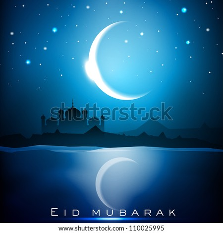 Eid Mubarak background with Mosque or Masjid and shiny moon. EPS 10. - stock vector