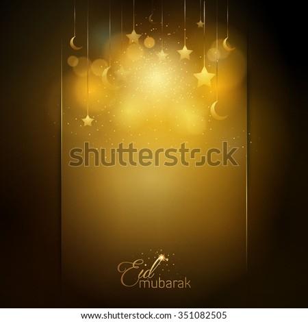 Eid Mubarak glow star and islamic crescent greeting card background - Translation of text : Eid Mubarak - Blessed festival - stock vector
