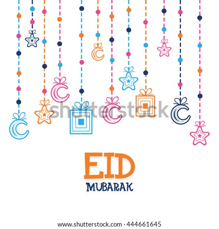 Eid Mubarak Greeting Card design decorated with Hanging Crescent Moons, Stars and Gifts, Beautiful Islamic Background for Eid Festival, for Muslim Community Festivals celebration. - stock vector