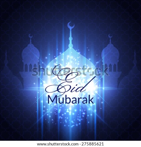 Eid Mubarak Greeting Card with mosque and lights. Vector festive islamic background - stock vector