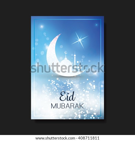 Eid Mubarak - Moon in the Sky - Greeting Card, Flyer or Cover Design for Muslim Community Festival - stock vector