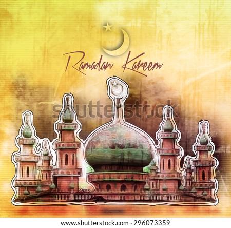 Eid Mubarak ( Ramadan Kareem ) concept with illustration of mosque. - stock vector