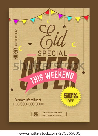 Eid special offer template banner flyer stock vector 273565001 eid special offer template banner or flyer design decorated with colorful bunting moons maxwellsz