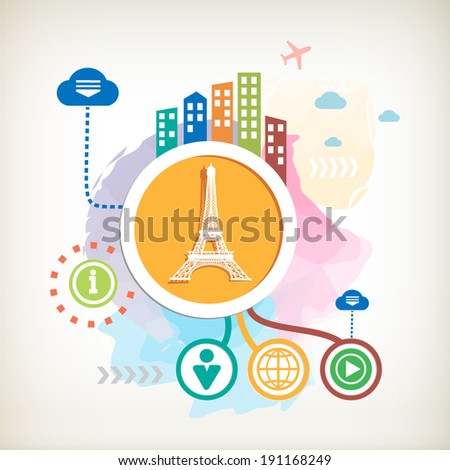 Eiffel tower and city on abstract colorful watercolor background with different icon and elements.  - stock vector