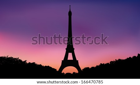 eiffel tower and hedge bushes silhouette  at twilight sky (evening,morning) - stock vector