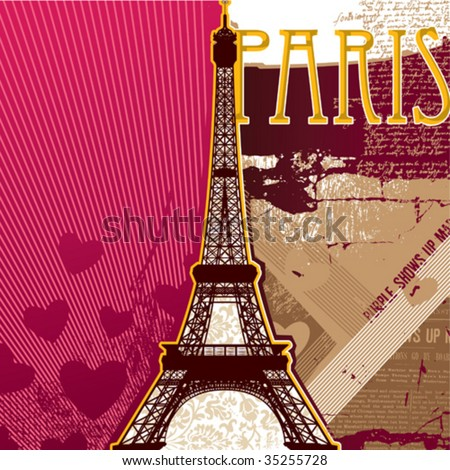 Eiffel tower artistic background. Vector illustration. - stock vector