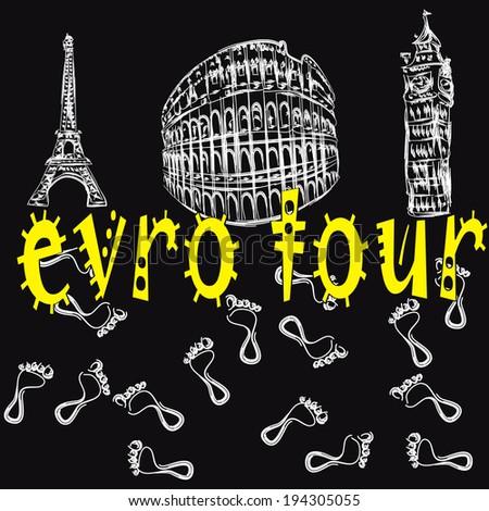 Eiffel Tower, Big Ben, Colosseum and  footprints - stock vector