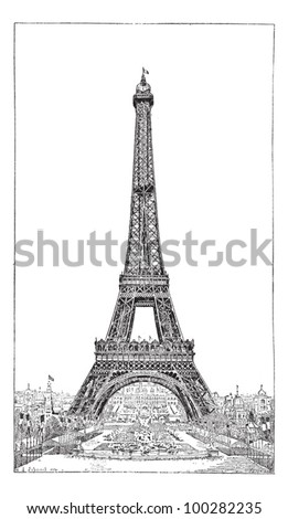 Eiffel Tower, brought up by the engineer Gustave Eiffel, vintage engraved illustration. Dictionary of words and things - Larive and Fleury - 1895. - stock vector
