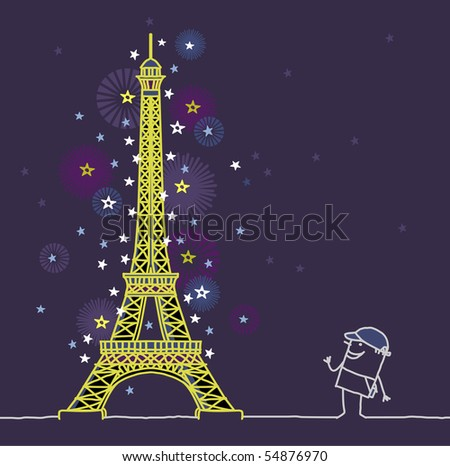 Eiffel Tower by night - stock vector