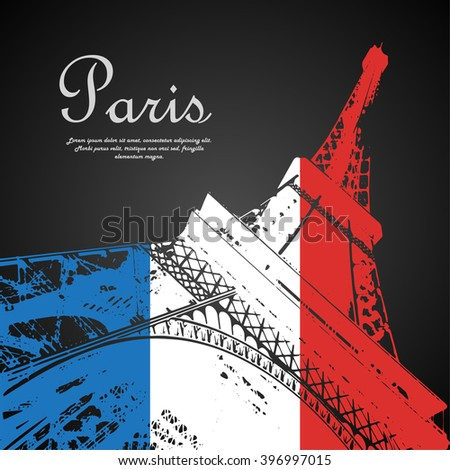 Eiffel tower France flag - stock vector