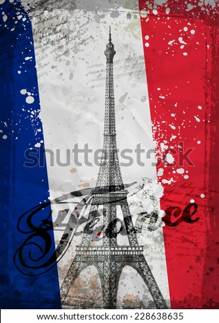 Eiffel Tower. Hand drawn vector illustration. brushstroke flag France - stock vector