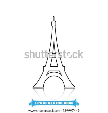 eiffel tower icon vector illustration EPS 10 - stock vector