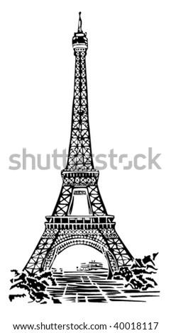 Eiffel tower illustration - stock vector