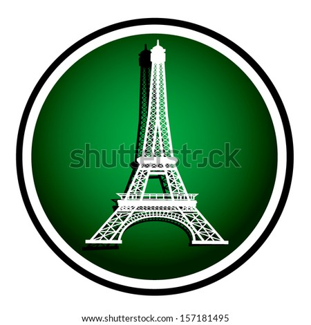 Eiffel Tower in Paris, France - green round icon - stock vector