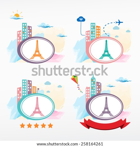 Eiffel Tower in Paris, France icon city background. Cityscape color illustration set.   - stock vector