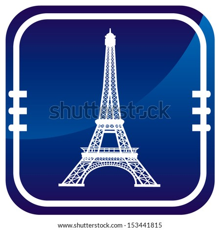 Eiffel Tower in Paris, France - on blue button - stock vector