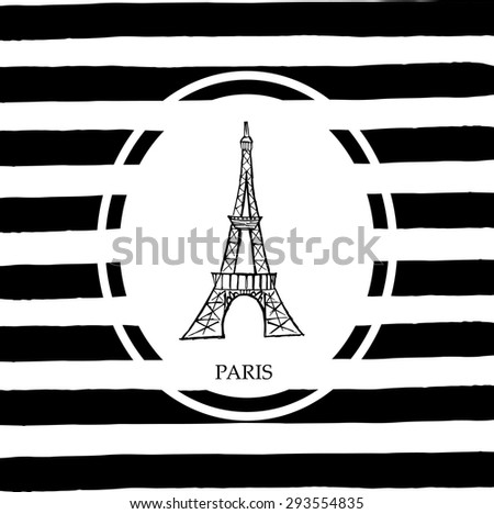 Eiffel tower in Paris. Free hand sketch with stripes background - stock vector