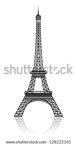 Eiffel tower isolated on white with reflection. - stock vector