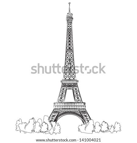 Eiffel Tower of Paris - vector lineart illustration - stock vector