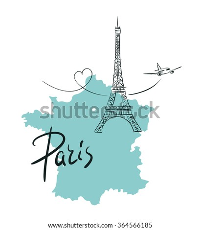 Eiffel Tower on the map of France, sketchy style vector illustration