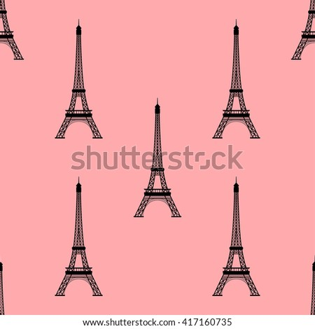 Eiffel tower, Paris, France. Seamless background. Eiffel tower monument icon repeating. Seamless pattern. - stock vector