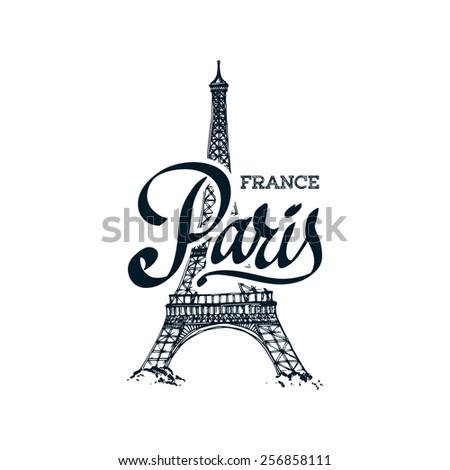 Eiffel tower parisian symbol hand drawn - stock vector