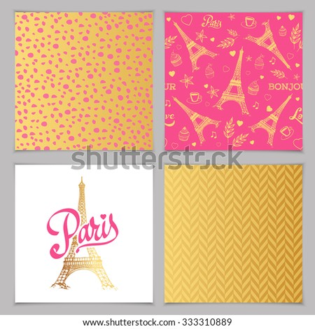 Eiffel tower parisian symbol. Hand drawn vector elements and patterns for greeting card. - stock vector