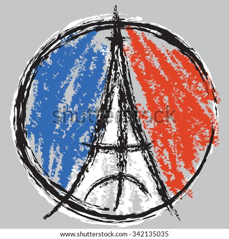 Eiffel Tower Peace Symbol with the colors of the French flag in a brushstroke style. - stock vector