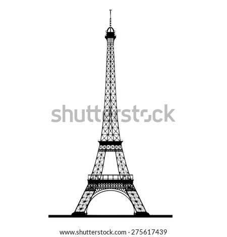 Eiffel tower silhouette vector - stock vector