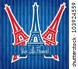 Eiffel tower sticker Bastille Day card in vector format. - stock vector
