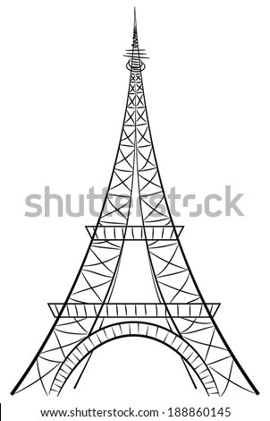 Eiffel tower, the most famous symbol of france capital, paris - eifel tower, silhouette. vector art image illustration, simple line graphic design, isolated on white background - stock vector