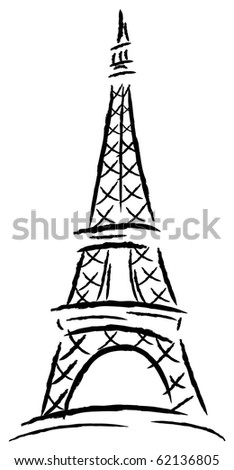 Eiffel tower. Vector illustration. - stock vector