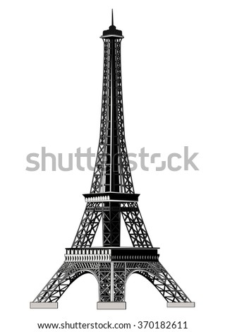 Eiffel Tower, vector illustration. Isolated on white. All levels of the tower are on the isolated layers.