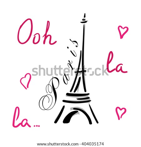 Eiffel Tower With Hearts Hand Drawn Decorative Sketch Silhouette Typography Background France Travel