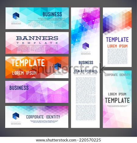 Eight abstract design banners vector templates, brochure, element, page, leaflet, with colorful geometric triangular backgrounds, logo and text separately.  - stock vector