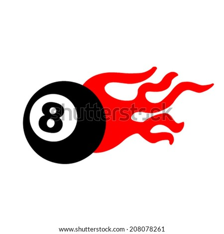 Eight ball and flames  - stock vector