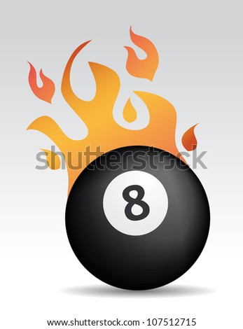 eight ball with fire flames - stock vector