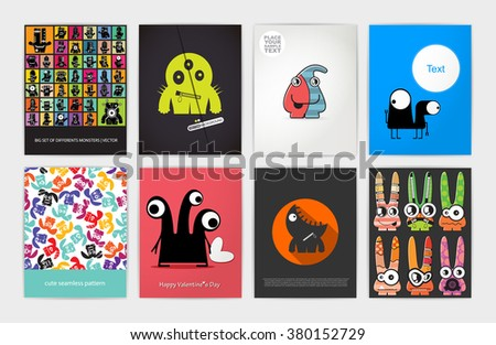 Eight banners with monsters. Set of funny monsters. Gift cards, invitation, cartoon illustration - stock vector
