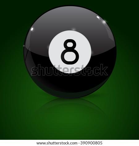 Eight billiard ball on green background. Vector illustration - stock vector