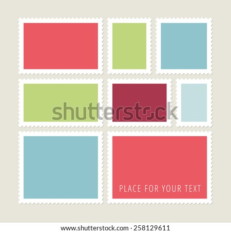 Eight blank colorful  postage stamps, vector templates with place for your images and text - stock vector
