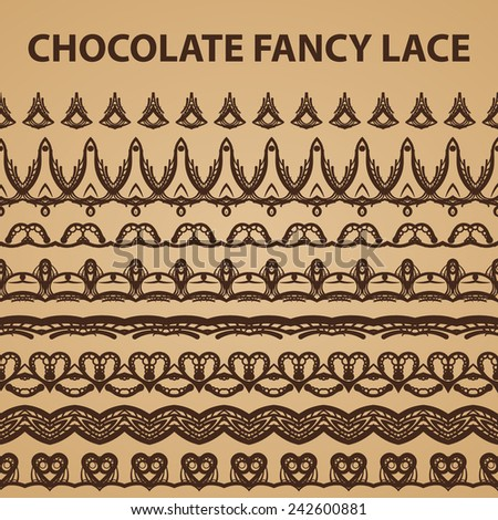 Eight Chocolate Lace Patterns - stock vector