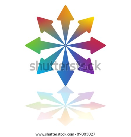 Eight Colored Arrows Pointing Outwards From Common Center - stock vector