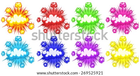 Eight different colors of cloud explosions - stock vector