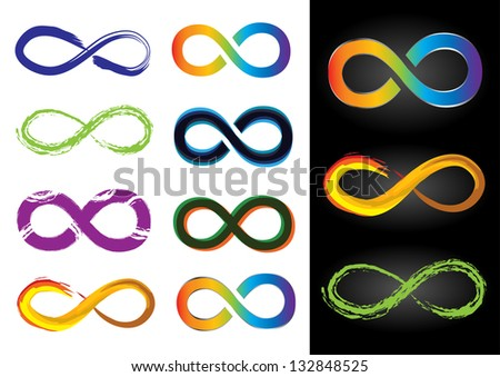 Eight Different Infinity Symbols - Vector Illustrations - stock vector