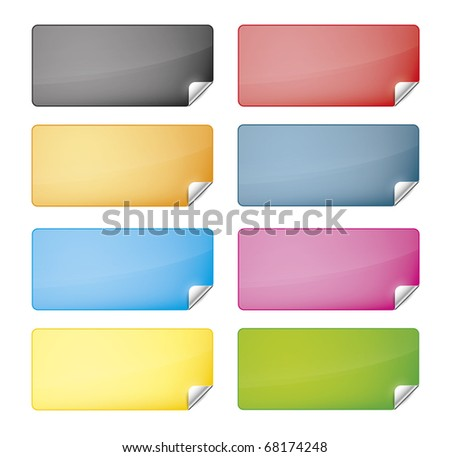 eight labels with different colors for your web site - stock vector