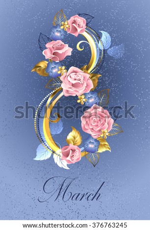 Eight of interwoven pink rose and blue violets on a serene blue background. - stock vector