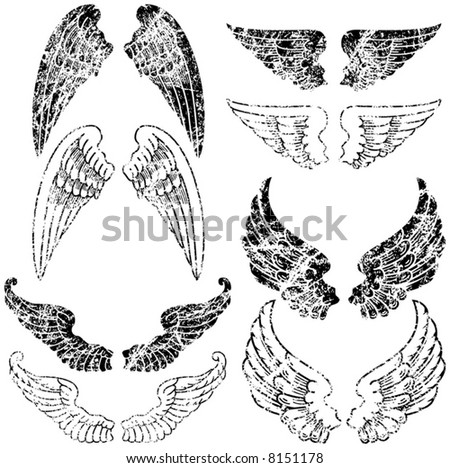 Eight Pairs of Grunge Angel Wings