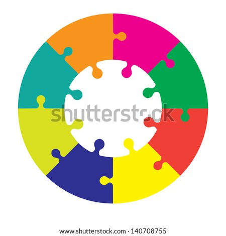 Eight piece jigsaw wheel in different colors - stock vector