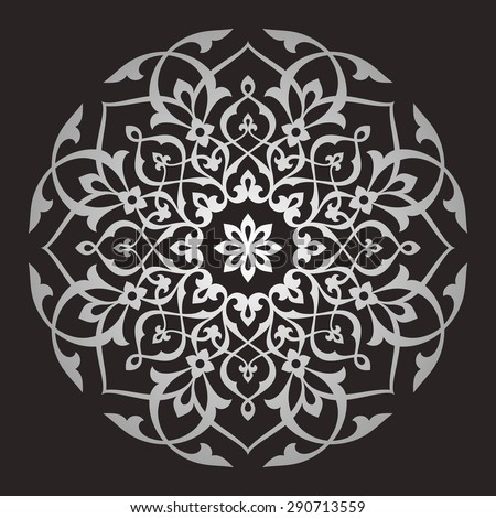 Eight pointed circular pattern. Mandala. Round linear vector ornament on dark background. - stock vector